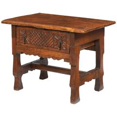 17th Century Oak Carved Portuguese Side Table