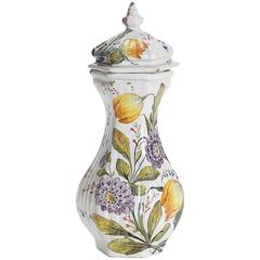 Antique Italian Le Nove Floral Painted Faience Earthenware Lidded Jar, 19th C