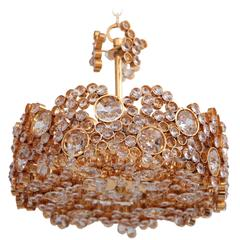 Outstanding Gilded Brass and Crystal Glass Encrusted Chandelier by Palwa
