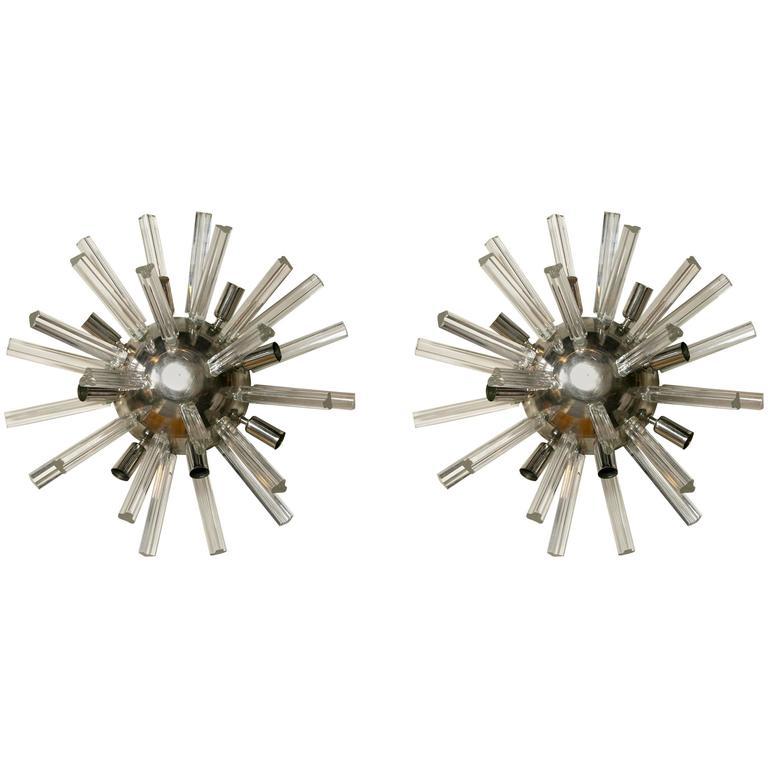 Pair of Italian Art Deco Spherically Shaped Sputnik Crystal Wall Sconces