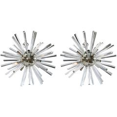 A Pair of Italian Mid-Century Modern Chrome Sputnik Chandeliers