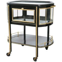 German Lacquered Mid-Century Modern Brass and Mahogany Ebonized Trolley