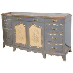 Venetian Marble-Top Painted Hollywood Regency Style Sideboard A One Of A Kind