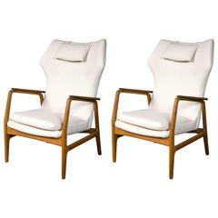 Pair of Stamped Aksel Bender Madsen Bovenkamp Mid-Century Modern Easy Chairs