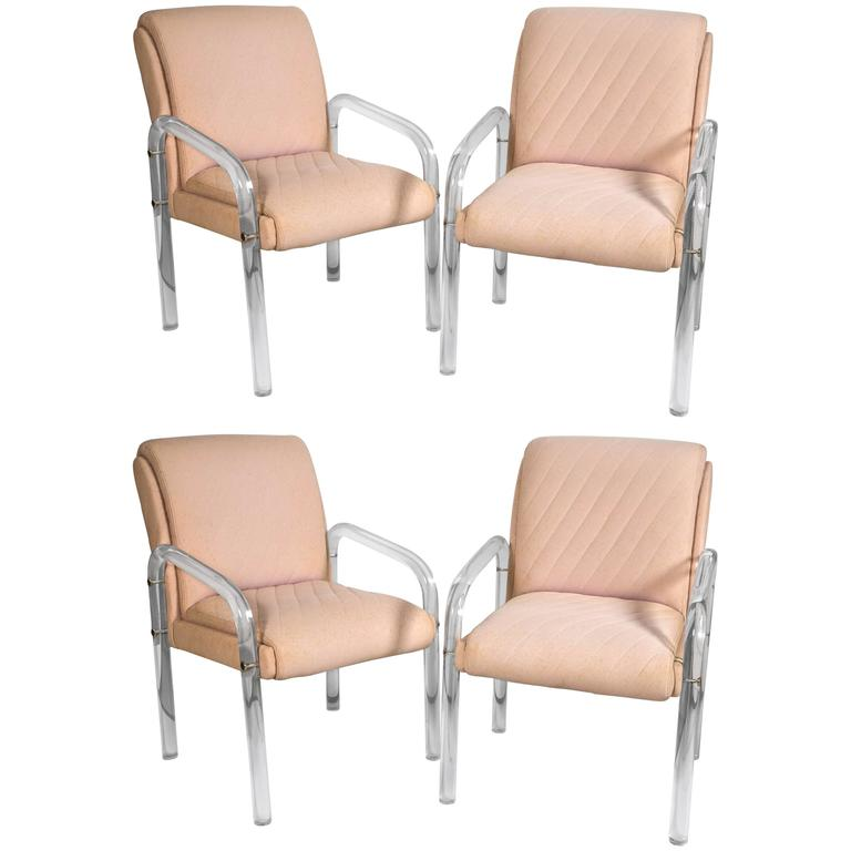 Two Pair of Mid-Century Modern Lucite Armchairs Solid And Sturdy W/ Sleek Lines