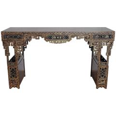 19th Century Chinese Lacquered Console, Drawers and Double Doors on Sides