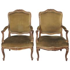 Pair of 19th Century Louis XV Style Parcel-Gilt Armchairs
