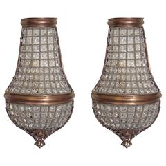 20th Century Pair of Beaded Wall Sconces