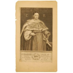 Early 18th Century Print of English Chief Justice, Court of Bench, 1735