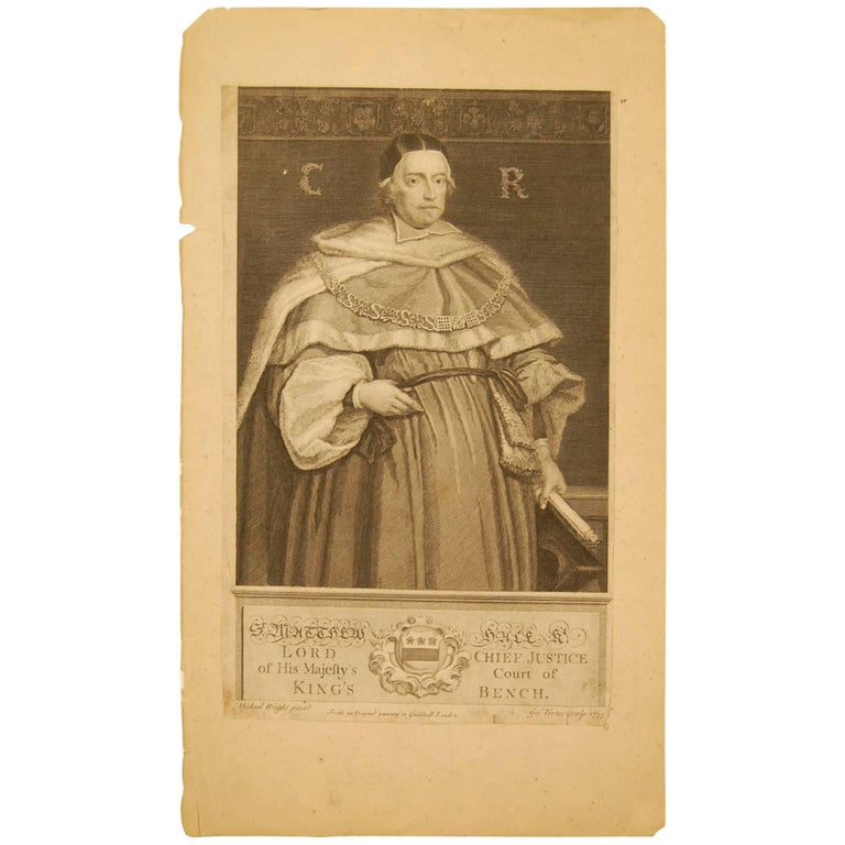 Early 18th Century Print of English Chief Justice, Court of Bench, 1735 For Sale