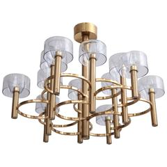 Stunning Sciolari Modernist Chandelier in Brass and Glass, Italy, 1960s