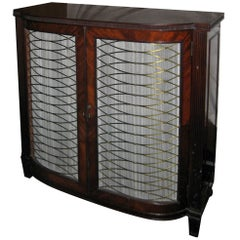 19th century English Regency Mahogany Bookcase with Brass Grillwork