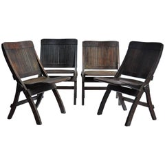 Antique Slatted Wood and Steel Folding Chairs