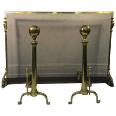Exceptional Giant Brass Fireplace Screen with Andirons