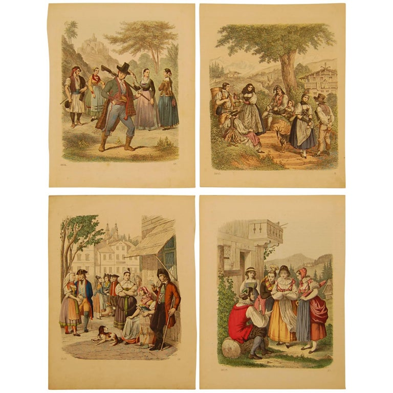 Set of Four Hand Colored 19th Century Prints Depicting European Villages For Sale