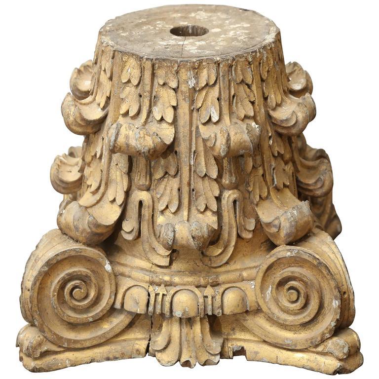 Dorische Säule aus vergoldetem Holz, 18. Jahrhundert 1