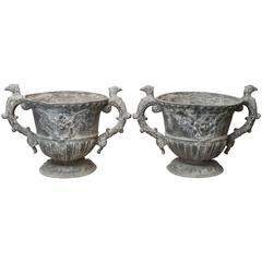 Antique Pair of 19th Century Lead Garden Urns