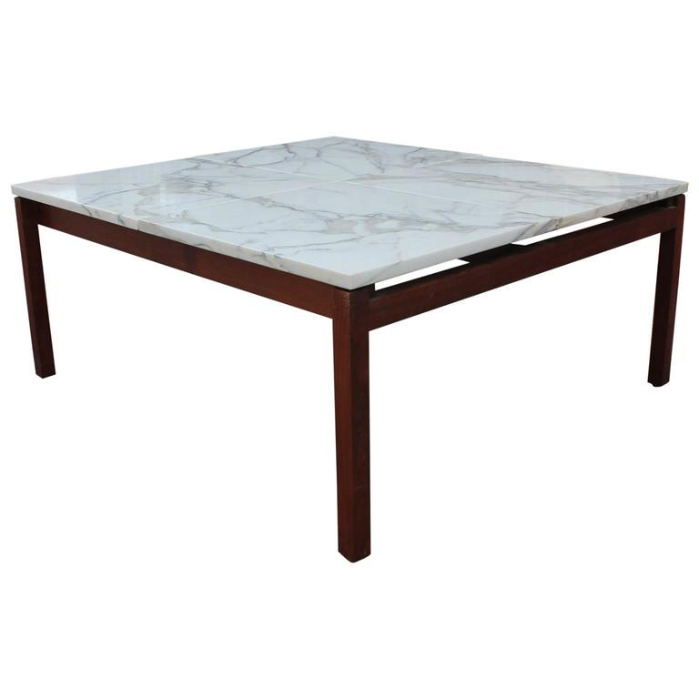 Modern Marble Square Knoll Lewis Butler Coffee Table With Walnut Base For Sale At 1stdibs