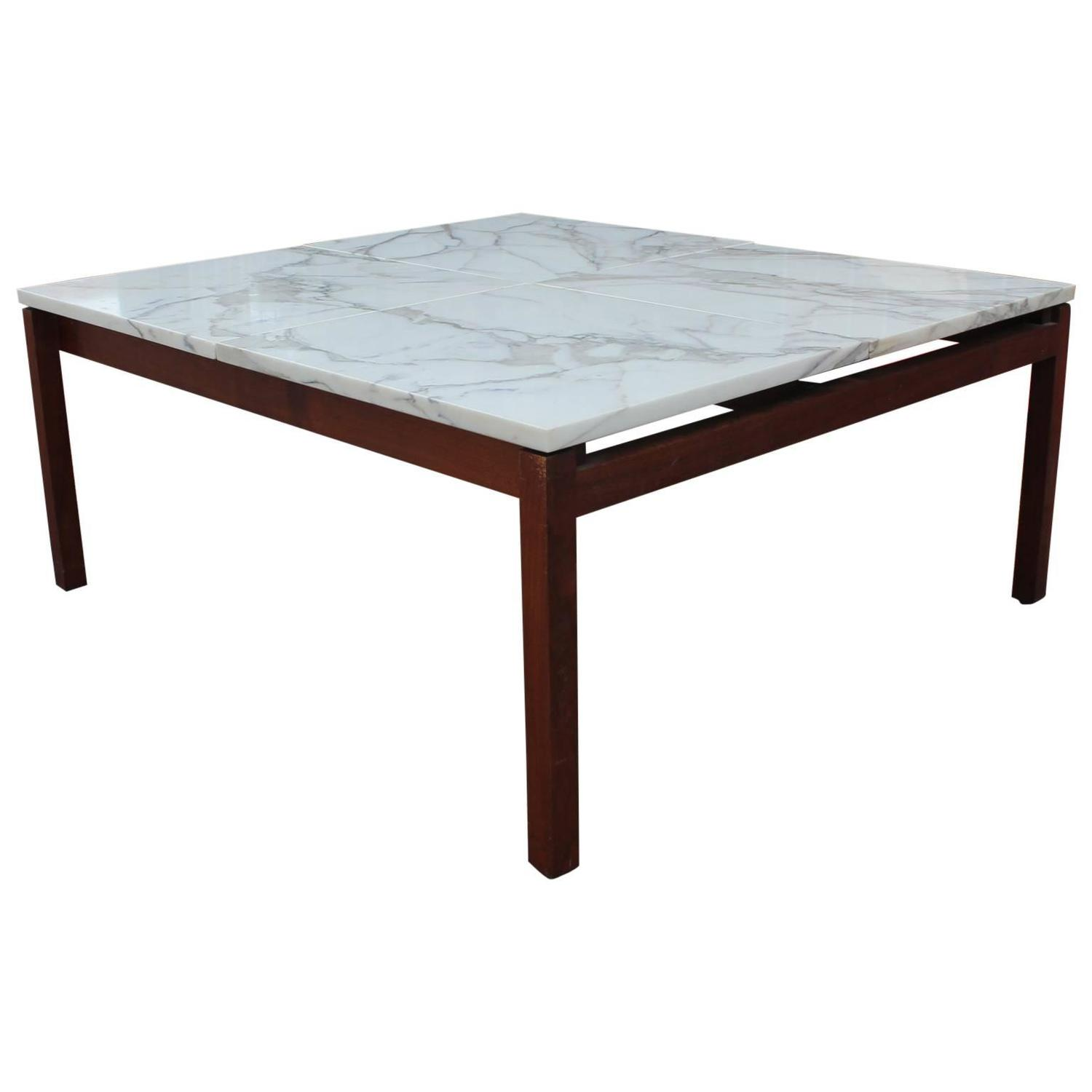 Modern Marble Square Knoll Lewis Butler Coffee Table with Walnut