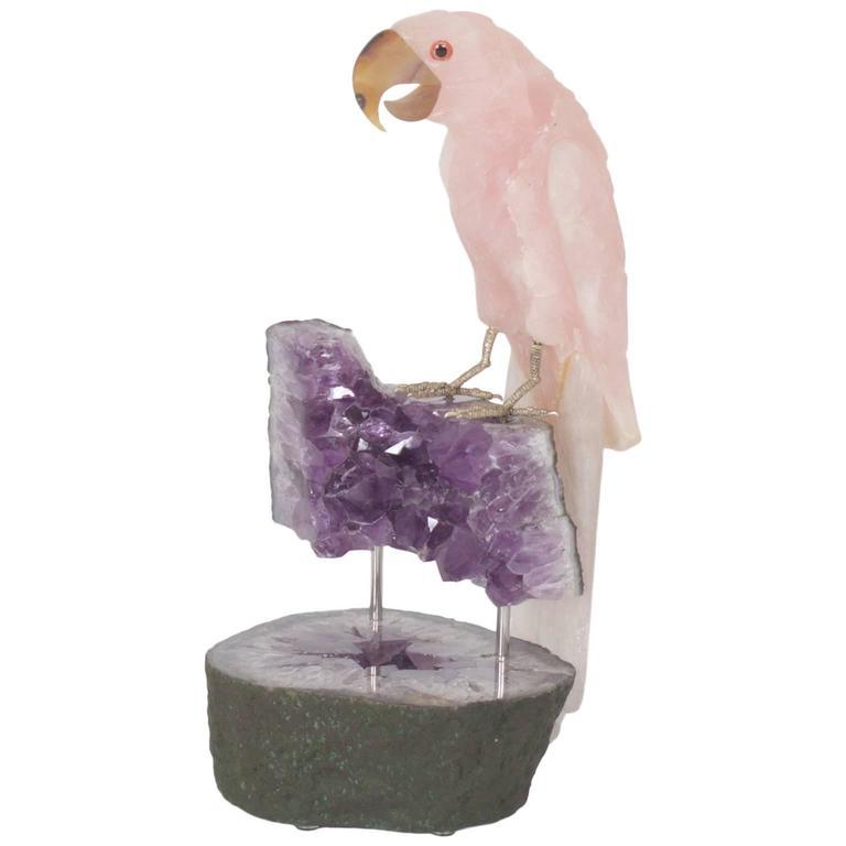 Parrot on Stand Sculpture in Quartz