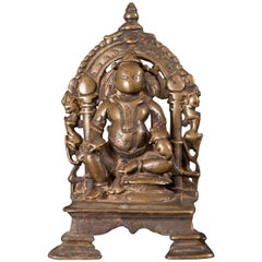 13th-16th Century Bronze Shrine for Kubera, the God of Riches from India