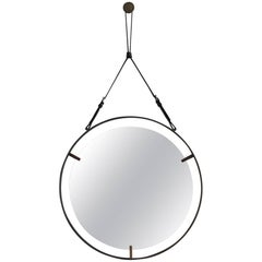 Circular Metal and Leather Mirror