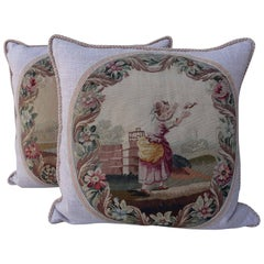 Pair of 19th Century French Aubusson Pillows by Melissa Levinson