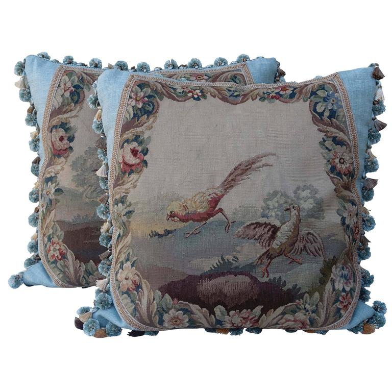 Pair of 19th Century French Aubusson Pillows by Melissa Levinson For Sale