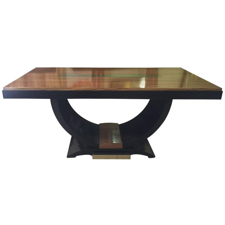 French Art Deco Zebrawood and Brass Table