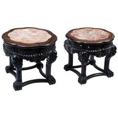 Antique Pair of Large Chinese Hardwood Pedestals Stands, circa 1880