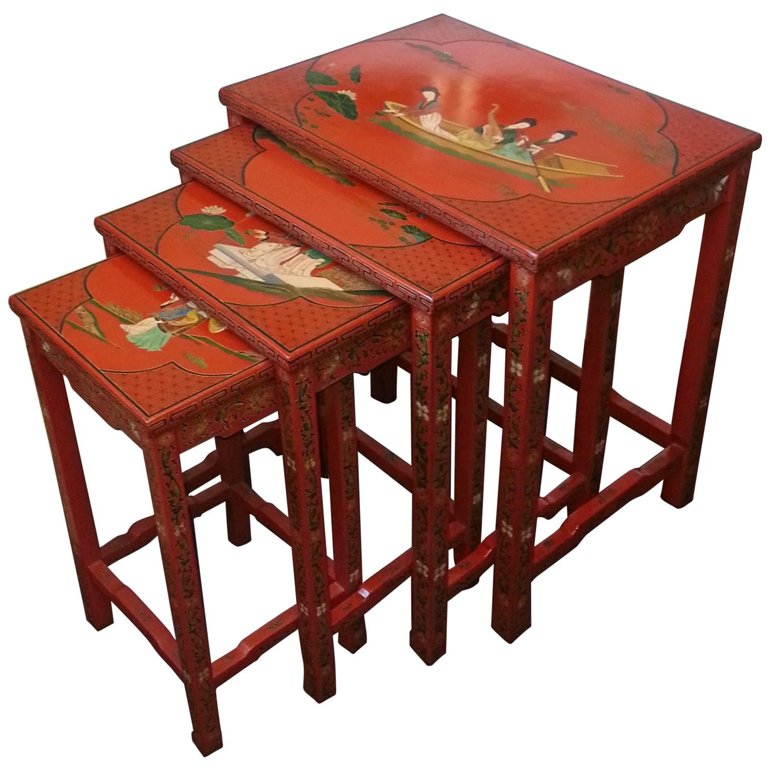 Set of four hand painted lacquer chinese nesting tables at for Oriental furniture nj