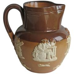Royal Doulton Lambeth Stoneware Jug or Pitcher with Farming Scene, Circa 1905