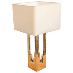 Very Huge Brass and Chrome Lumica Table Lamp in the Manner of Willy Rizzo