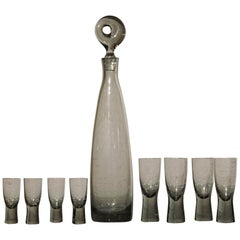 Mid-Century Aristokrat Decanter by Per Lutken for Holmegaard & 8 Canada Glasses