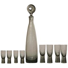 Mid-Century Aristokrat Decanter by Per Lutken for Holmegaard & 8 Canada Glasses