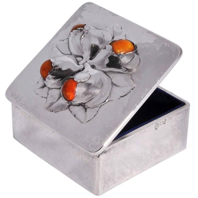 evald nielsen silver and amber set box in the style of georg jensen at 1stdibs. Black Bedroom Furniture Sets. Home Design Ideas