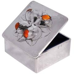 Evald Nielsen Silver and Amber Set Box in the Style of Georg Jensen