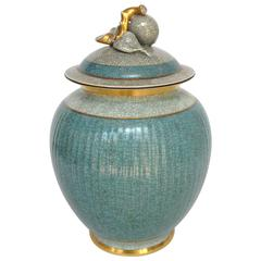 Craqueline Royal Copenhagen Covered Jar Aqua