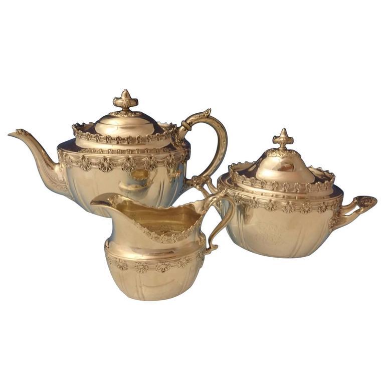 English King by Tiffany Sterling Silver Tea Set Sugar Creamer 3-Piece Hollowware