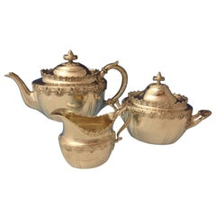 English King by Tiffany Sterling Silver Tea Set Sugar Creamer 3-Piece #0173
