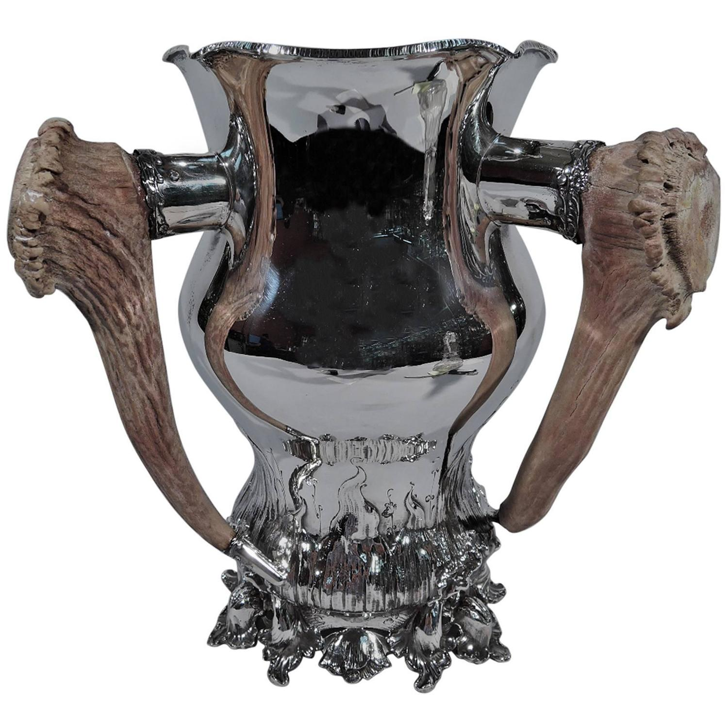 Shiebler Sterling Silver Alpha Trophy Cup With Antler
