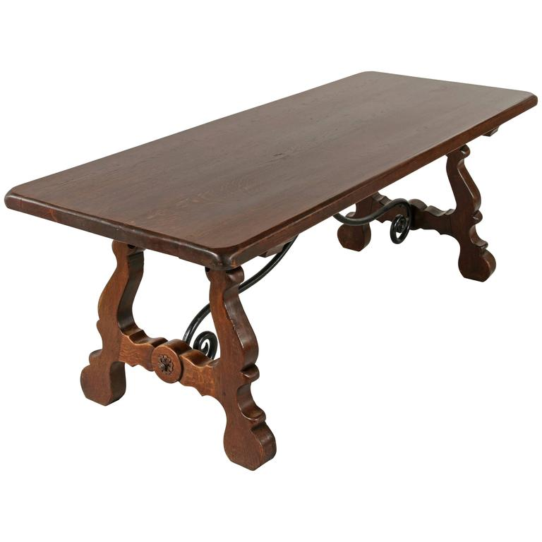 Spanish Renaissance Style Dining Table, Sofa Table, Console Table, Oak And  Iron For