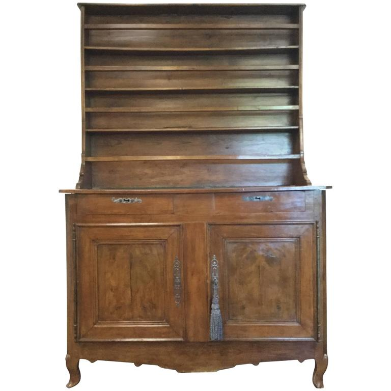 18th Century French Directoire Walnut Buffet with Plate Rack