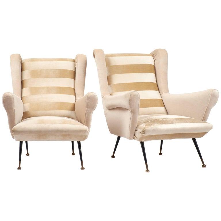 Italian Mid-Century Modern Striped Velvet Armchairs For Sale