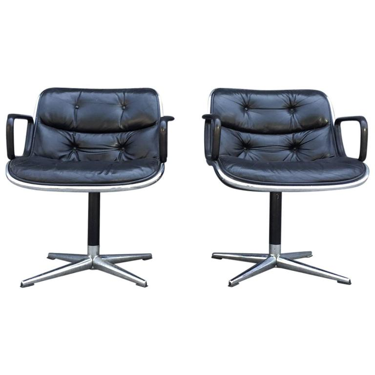 Pair of Early Charles Pollock for Knoll Accent Chairs For Sale
