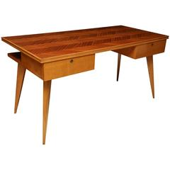 Italian Mid-Century Blond Mahogany Desk with Chevron Inlaid Top, circa 1960