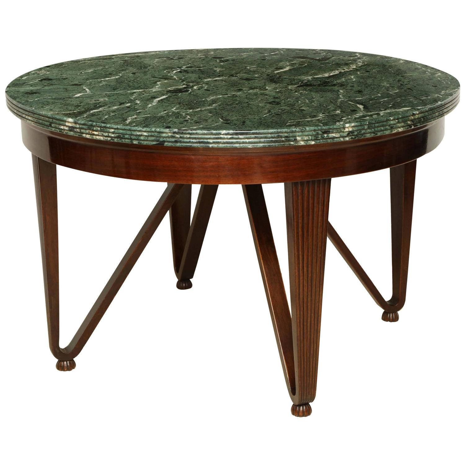 Round Wood Hairpin Coffee Table: Round, Italian Mahogany Center Table With Green Marble Top