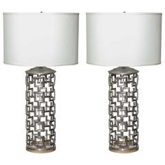 Beautiful Pair of Cubist Influence Table Lamps