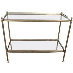 Brass Two-Tiered Console with Glass Shelves