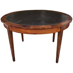 Round Mahogany Table with Black Leather Top
